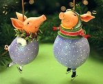 Fred and Esther Pig Ornaments