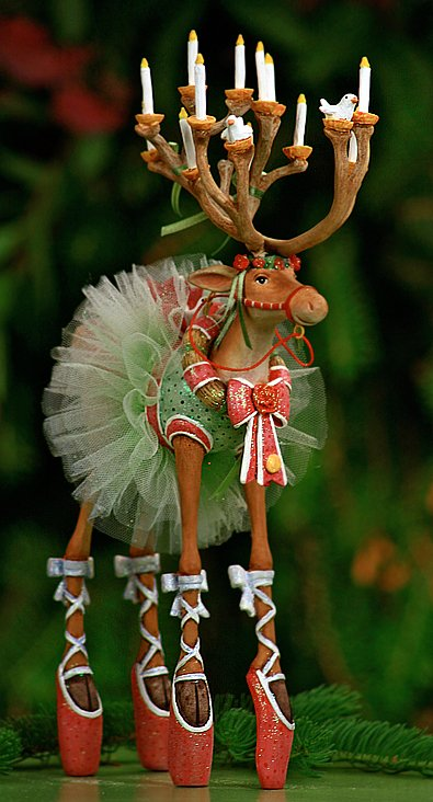 Patience brewster reindeer figurines for Ballet shoes christmas decoration